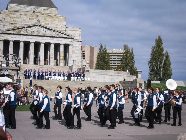 The Werribee Concert Band perform at the Melbourne ANZAC Day parade in 2005