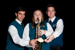 Larry, Michelle and Jamie finding a new use for an alto sax